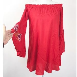 Feathers Red Embroidered Bell Sleeves Tunic Top S